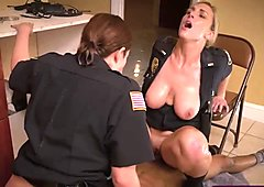 Horny cops making black stud please in threesome